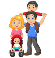 Father giving his son piggyback ride with mother vector image vector image