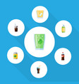 flat icon soda set of bottle fizzy drink cup and vector image