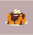 fresh tasty pancakes with chocolate and whipped vector image