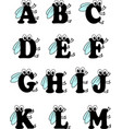 funny insect alphabet from a to m vector image