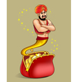 genie appears from wallet with gold dollar vector image