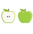 Green apple whole and half vector image