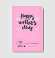 happy mothers day creative greeting card with hand vector image vector image