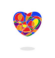 heart mosaic painted in rainbow flag colors vector image vector image