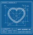 heart sign as technical blueprint drawing vector image vector image