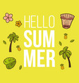 hello summer banner with tiki mask and tropical vector image