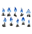Industrial chemical plants with blue flames vector image vector image
