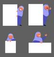 islam girl flat character peeping behind vector image vector image