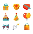 Isolated flat icons set Gift Party Birthday vector image vector image
