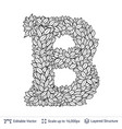 letter b symbol of white leaves vector image vector image