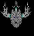 mascot head wolf vector image vector image