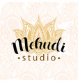 mehndi studio logo vector image vector image