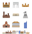 milan italy city skyline icons set flat style vector image vector image