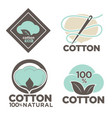 natural cotton isolated icons organic product vector image vector image