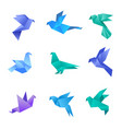 origami dove pigeon birds from paper stylized vector image