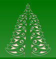 ornamental christmas tree carved on the square vector image vector image