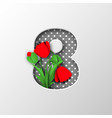 paper cut number 8 with poppy flowers vector image