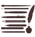 Pencil Pen Brush Felt Pen Feather vector image vector image