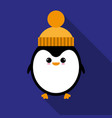 penguin in hat icon vector image