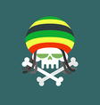 Rasta skull Skull addict with dreadlocks and bones vector image vector image