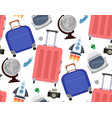 seamless pattern with travelers suitcases vector image vector image