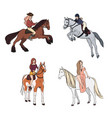 Set of woman riding a horse in various poses vector image