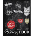 set wine chalk vector image