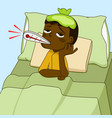 sick african american boy lying on the bed vector image vector image