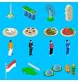 Singapore Travel Symbols Isometric Icons Set vector image vector image