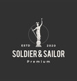 soldier and sailor statue hipster vintage logo vector image