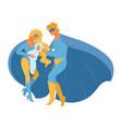 super hero family holding newborn baon hands vector image