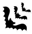 three flying bat black corner silhouette icon set vector image vector image