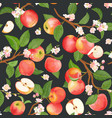 watercolor floral apple seamless pattern vector image vector image