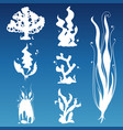 white underwater wild plants silhouettes vector image