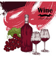 wine bottle with two glasses and grapes vector image