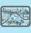 winter road background with night landscape vector image