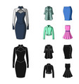 women clothing cartoonblack icons in set vector image vector image
