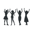 smiling dancing women icons vector image