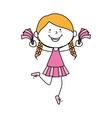 girl cartoon cheerleader kid happy isolated design vector image