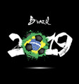 2019 new year and a soccer ball as flag brazil vector image