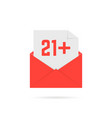 21 plus icon in open letter isolated on white vector image