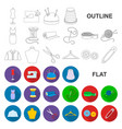 atelier and sewing flat icons in set collection vector image vector image