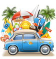 beach concept with blue car vector image vector image