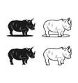 black rhinoceros logo vector image vector image