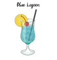 blue lagoon cocktail with lemon decorations vector image vector image
