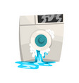 broken washing machine with leaking water damaged vector image vector image