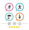 businessman with umbrella human running symbol vector image