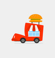 cartoon food delivery truck vector image vector image