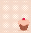 Cherry cupcake on white polka dots background vector image