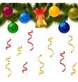 Christmas ball with pine tree and bells vector image